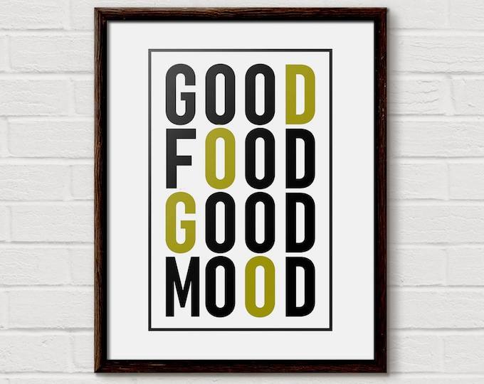 Good Food Sign, Good Food Good Mood, foodie gift, posters of food, kitchen print, Kitchen Decor, Minimalist Wall Art, Kitchen art Quote