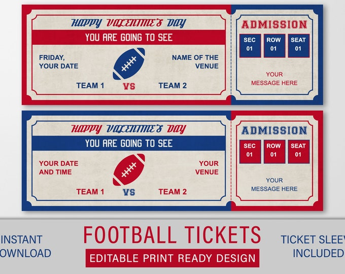 Valentines Football Ticket Gift, Football Ticket Printable, Football Gift, Game Ticket Editable, Fake Game Ticket, Sports Gift for Men