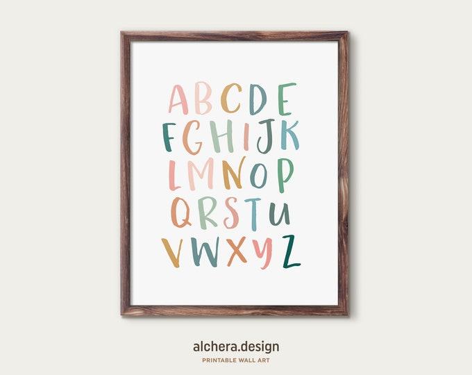 Alphabet Print, Nursery Decor, Kids Playroom Decor, Rainbow Baby, ABC Poster, Kids Wall Art, Boho Nursery Decor, Playroom Wall Art