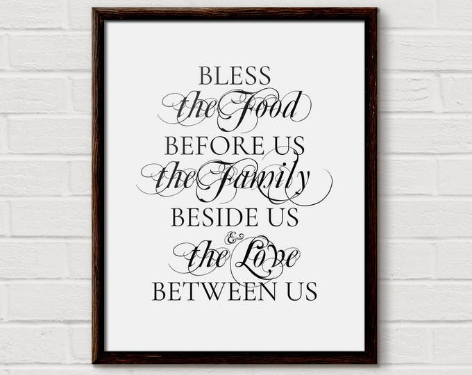 bless the food, bless this food, blessings, bless the food sign, food before us, signs for the home, blessed sign, the family beside us