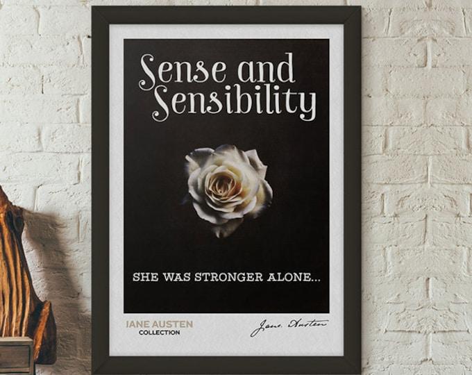 Austen Quote Print, Sense and Sensibility, Jane Austen Quotes, Austen Poster, Literary Quote, Jane Austen Print, Book Lover Gift Set