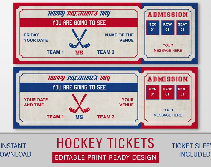 Ice Hockey Game Ticket, Printable Hockey Gift, Sports Game Fake Editable Ticket, Boyfriend Hockey Gift