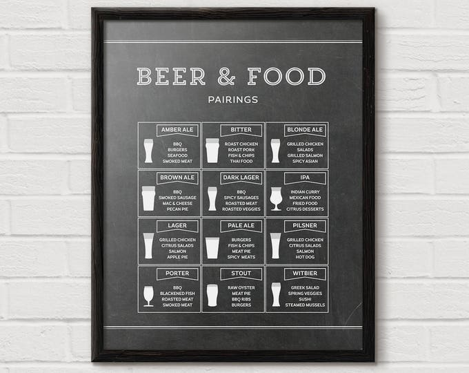 Beer and Food Pairings, Beer Print, Chalkboard Kitchen Print, Beer Chart, Beer Decor, Man Cave Wall Art, Beer Art, Lager, man cave furniture