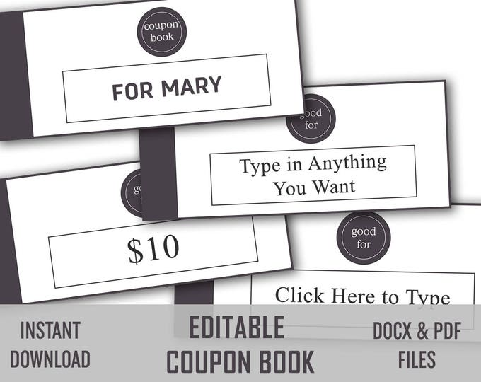 Coupon, Diy Coupons, Love Coupon, Love Coupons For Her, Editable, Love Token, Coupons Printable, Love Notes, Printable Coupon, Editable Pdf