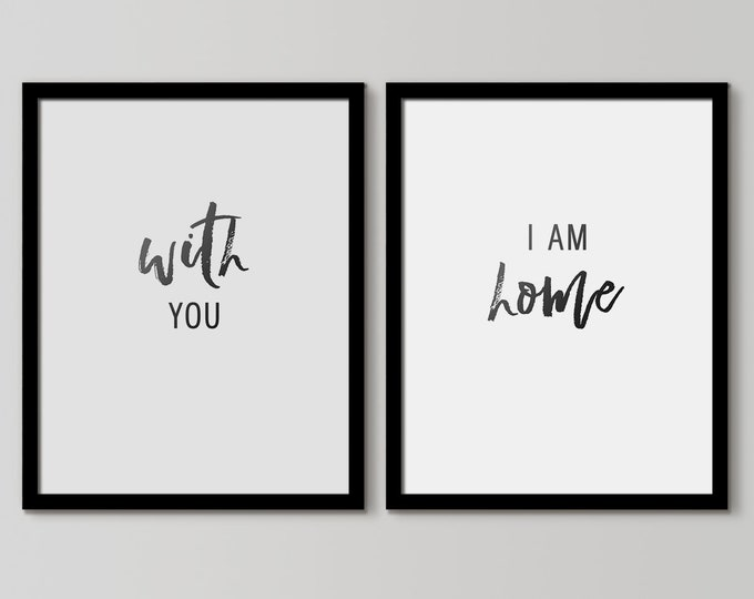 With You I Am Home, Cottage Home, Newlywed Decor, Bedroom Wall Decor, Bedroom Wall Hangings, Inspirational Signs, Farmhouse Decor, Chic Home