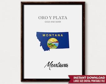 Montana State Flag, Montana Art, Montana Map, Montana Gift, Montana Decor, Montana Print, Montana State, Montana Poster, Montana Wall Art,