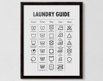 Laundry Guide, Laundry Cheat Sheet, Laundry Symbols Printable,  Bathroom Print, Affiche Scandinave, Minimalist print, Laundry, Printable Art