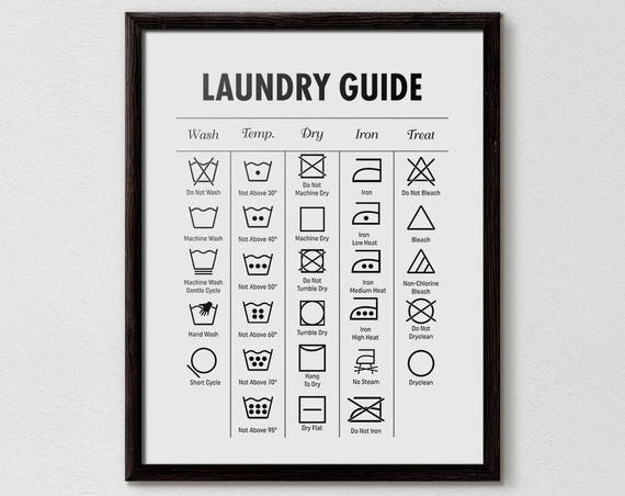 Laundry Guide Laundry Cheat Sheet Laundry Symbols Printable Etsy