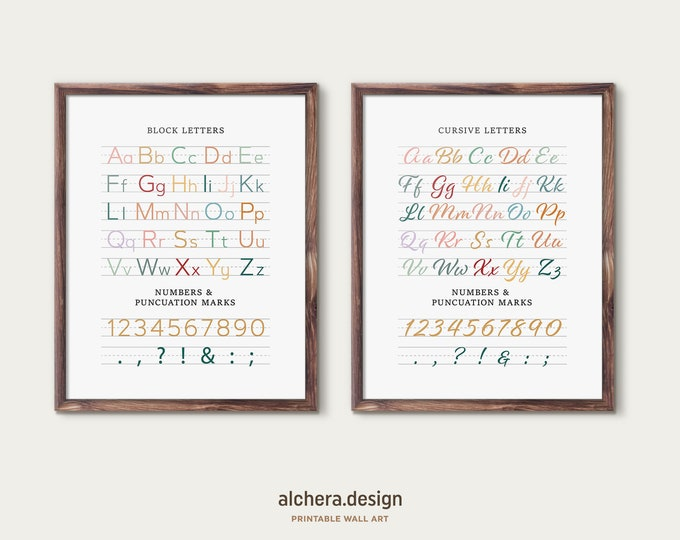 Print & Cursive Alphabet, Uppercase and Lowercase Letters, Block and Cursive Writing Set , Writing Charts, Print and Cursive Set