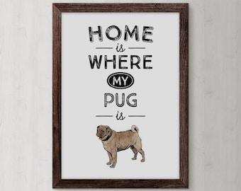 Pug Art Prints, Pug Gift, Pug Mug, Pug Poster, Pug Art, Pug Lover Gift, Pug Owner, Pug Prints, Pug Mom, Pug Decor, Pug Dog, Pug Painting