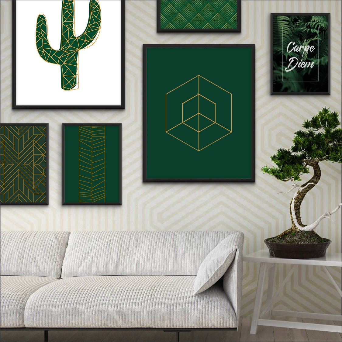 Art Deco Poster Green Decor Minimalist Decor Green Wall