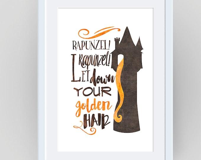 Rapunzel Poster, Rapunzel Wall Art, Tangled Wall Art, Rapunzel Print, Nursery Print, Art for Kids, Watercolor Print, Tangled Art, Disney