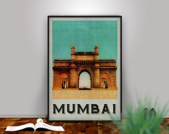 Mumbai Print, Mumbai Art, Bombay Poster, Mumbai India, Mumbai Poster, Mumbai City, India Poster, Travel Art, Retro Mumbai, City Poster