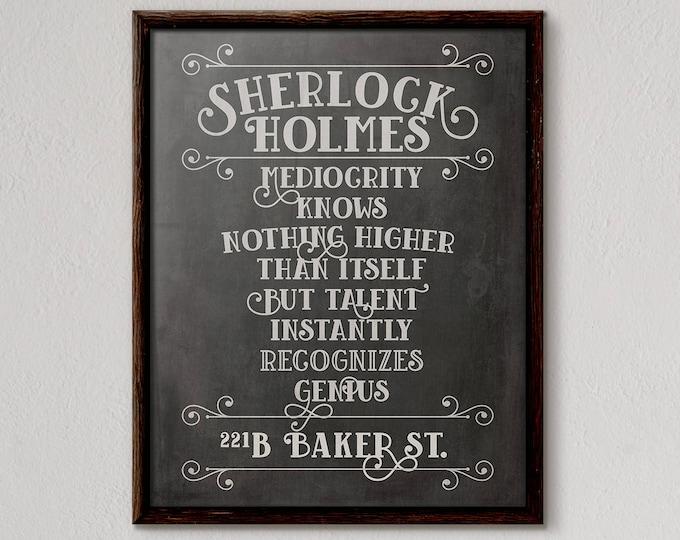 Sherlock Holmes Poster, Sherlock Print, Detective Book Poster, Sherlock Gift, Literary Quotes, Quote Poster, Literature Printable, No 2