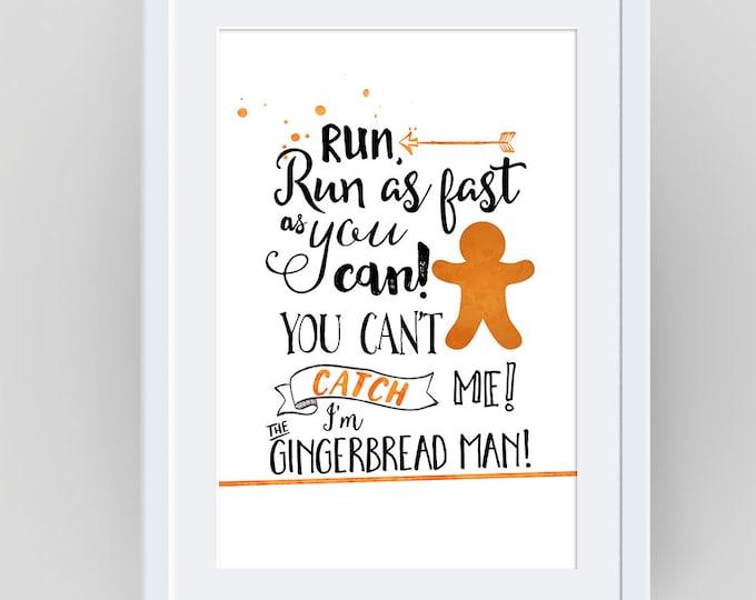 Gingerbread Man, Gingerbread Cookie, Gingerbread  Decor, Gingerbread Prints, Nursery Wall Art Print, Childrens Books,  Fairy Tale