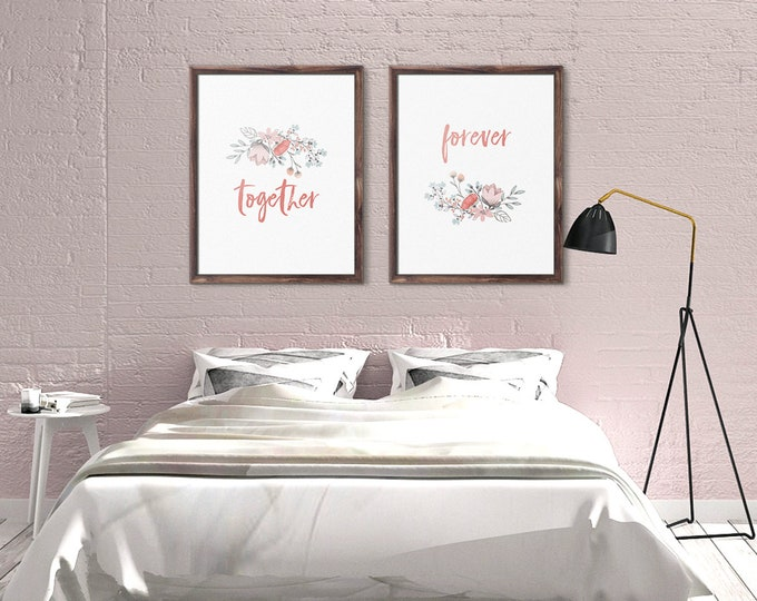 Above Bed Art, Together Forever, Print Set of Two, Wall Art Set of 2, Master bedroom decor, Couples decor, Bedroom Posters, Above Bed Decor