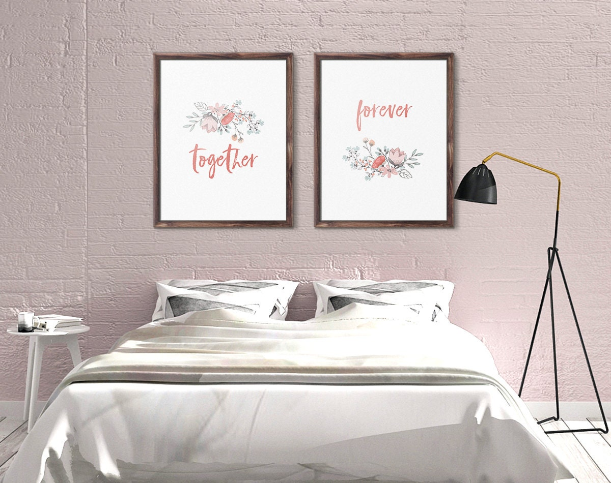 Above Bed Art, Together Forever, Print Set of Two, Wall Art