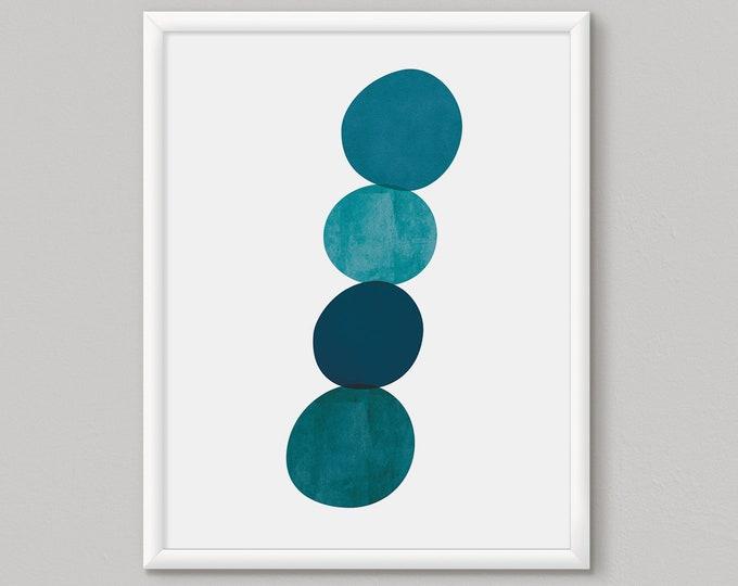 Blue abstract art, blue wall art, blue abstract art print, home decor wall art, scandinavian art, geometric art, living room wall art, Teal