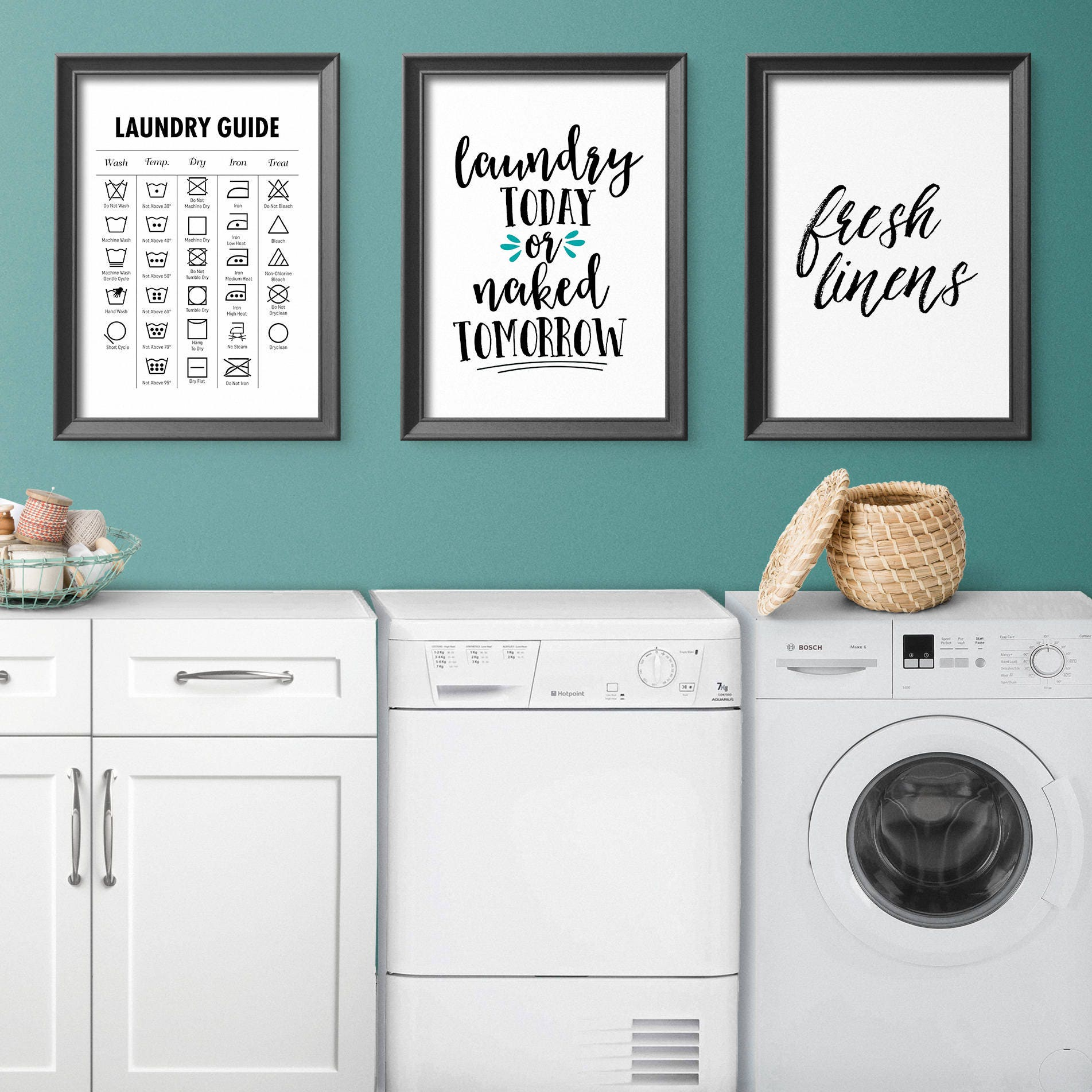 Fresh Linens Laundry Typographic Print Laundry Room Sign