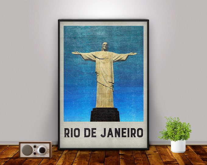 Rio de Janeiro, Rio Poster, Christ the Redeemer, Rio de Janeiro Print, Brazil Print, City Poster, City Decor, Travel Art, Wall Decor
