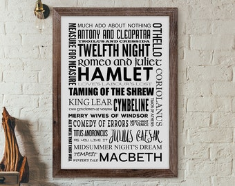 Shakespeare Poster, Shakespeare Gift, Shakespeare Quote, Shakespeare Print , Shakespeare Book Poster, Literary Poster, Printable Shakespeare