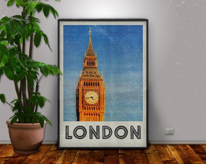 London Print, London, Big Ben, London Art, London Poster, Vintage Poster, Retro Print, Travel Art, City Print, Home Decor, Retro City Poster