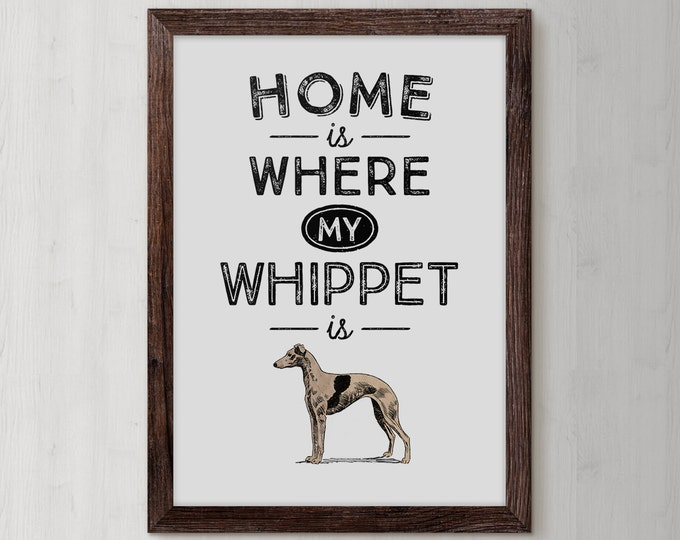 Whippet, Whippet Puppies, Dog Breed, Whippet Gifts, Whippet Gift Ideas, Dog Owner Gifts, Illustrated Dog Art, Dog Breed Wall Art, Puppy Wall