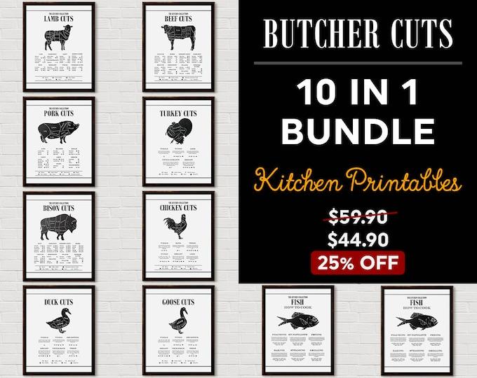 Kitchen Chart Print Set, Kitchen Printable Set, Kitchen Wall Decor, Kitchen Wall Art, Kitchen Printables, Gallery Wall, Butcher Print,