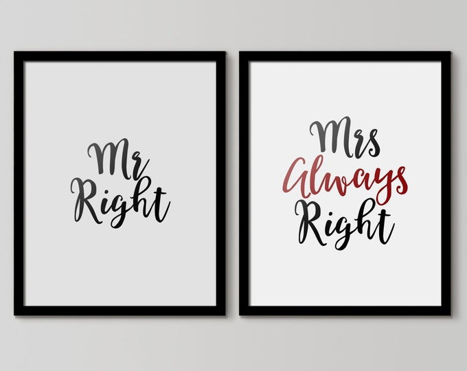 Mr. Right Mrs. Always Right, Printable Sign Set, Wall Decor, Minimal Print, Couple Print, Fashion Print, Set Of 2 Bedroom Prints, Couple Art