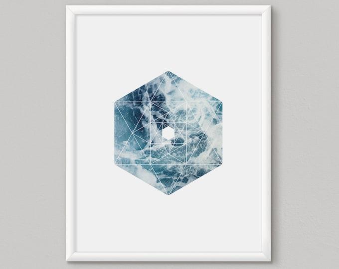 Hexagon Print, Geometric Wall Art, Printable Large Poster, Sea Poster, Blue Hexagon Print, Blue Wall Art, Minimalist Modern Decor, Blue Art