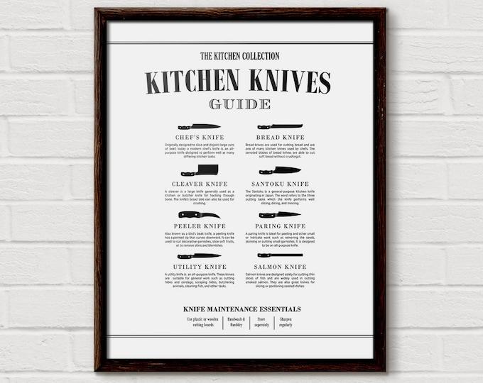 Kitchen Knife Chart, Butcher Print, Kitchen Diagram, Cooking Knife, Butcher Knives, Chef Knife, Kitchen Chart, Unique Cooking Gift, KP14