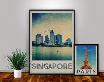 Singapore Print, Singapore Art, Singapore Poster, City Poster, City Print, Decor, Travel Art, Home Decor, Travel Poster, Singapore Prints