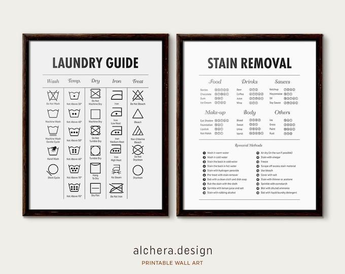 Set of 2  Laundry Room Sign, Laundry Room Decor, Laundry Symbols,  laundry sign, Laundry Room Sign, Laundry Organization