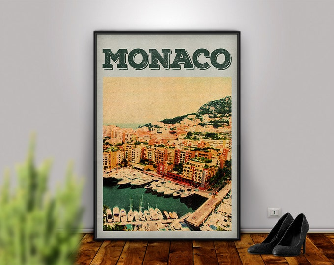 Monaco Art, Monaco, Monaco Print, Monaco Poster, Monaco Printable, City Decor, City Print, Travel Art, Wall Art, Retro Print, Home Decor