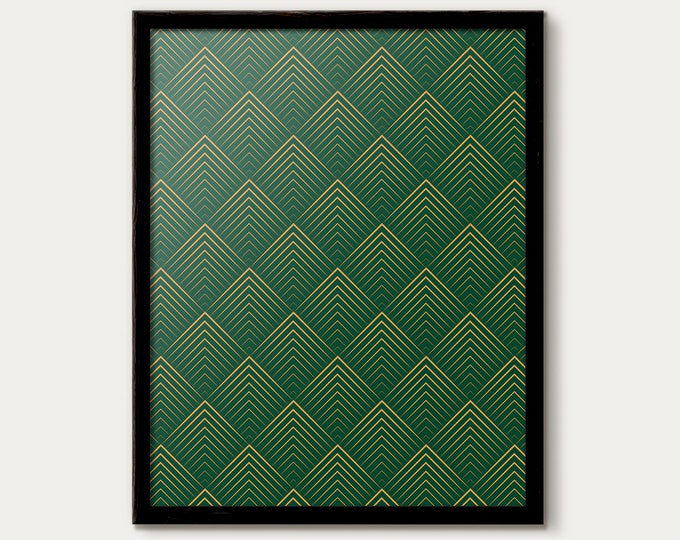 Art Deco Poster, Green Decor, minimalist decor, Green Wall Art, Art Deco Wall, Green Gallery Wall, Green Prints, Green Gold Art Deco Pattern