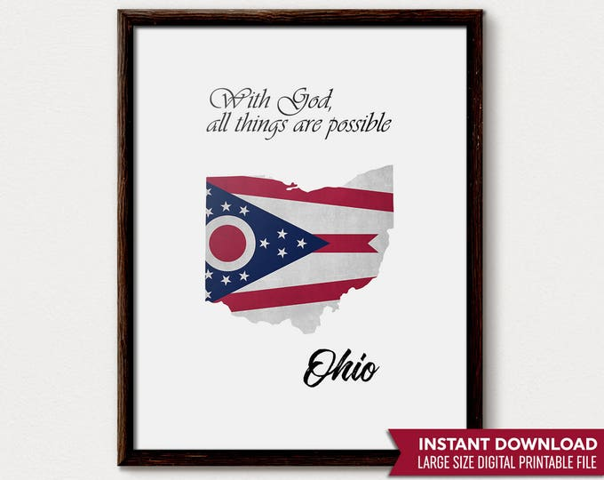 Ohio State, Ohio State Flag, Ohio Gift, Columbus Ohio, Ohio Print, Ohio Decor, Ohio State Gift, Ohio State Decor, Ohio Art Print, Ohio Art