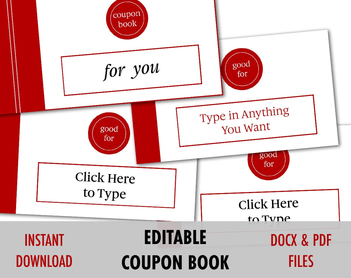valentines day gift for him editable love coupon love coupon book