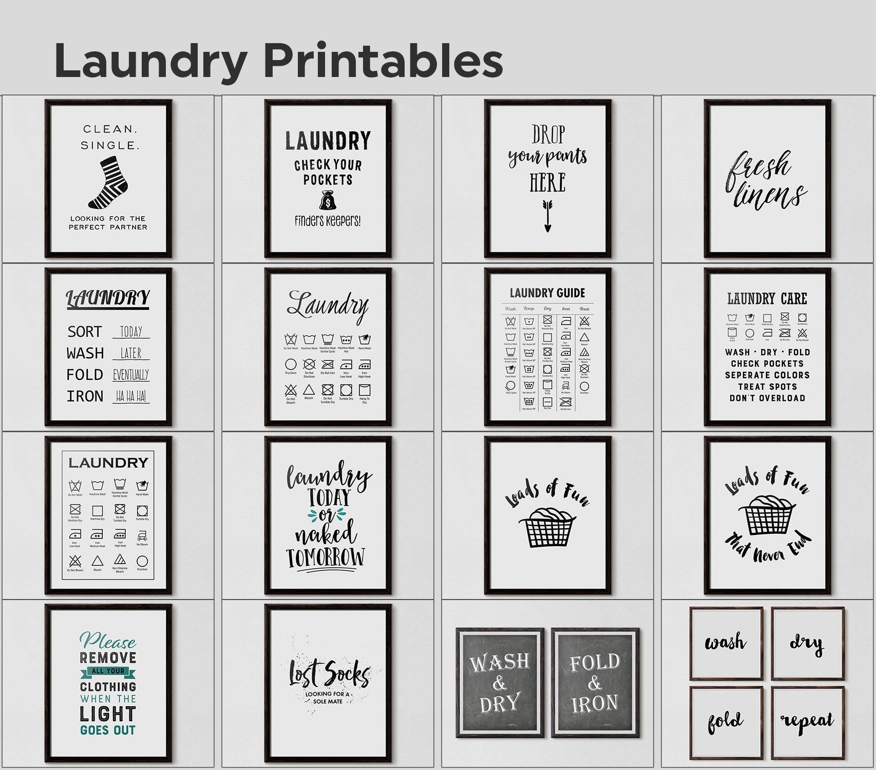 image regarding Printable Laundry Signs named Laundry Space Decor, Humorous Laundry Decor, Laundry Print, Get rid of