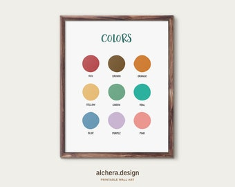 Colors Educational Poster,  Homeschool Print, Learning Colors, , Classroom Decor, Playroom Learning, Montessori, Rainbow Colors Poster