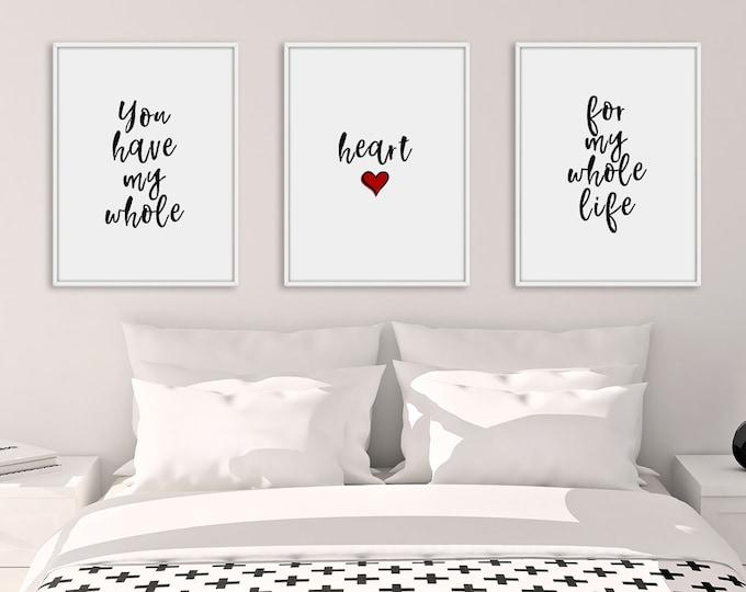 Bedroom Print Set, Set of 3 Prints, Bedroom Prints, Heart Decor, Love Wall Art, Home Decor, Wall Art, Bedroom Decor, Living Room Decor