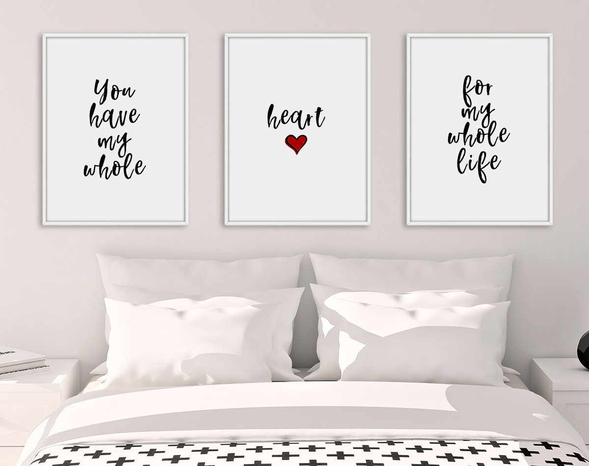 Beau Bedroom Print Set, Set Of 3 Prints, Bedroom Prints, Heart Decor, Love Wall  Art, Home Decor, Wall Art, Bedroom Decor, Living Room Decor