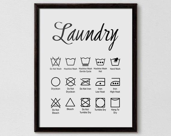 Laundry Symbols Laundry Symbol Chart Laundry Room Ideas Etsy