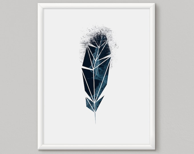 blue feather art, feather room decor, feather wall art, feathers painting, single feather, feather print set, feathers wall art, geometric