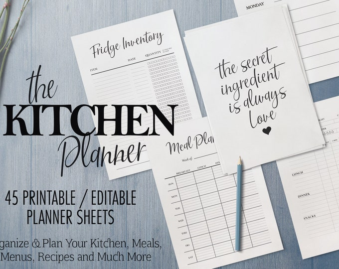 Kitchen Planner, Meal Planner, Printable Weekly Planner, Weekly Meal Planner, Editable Planner, Editable recipe template, Kitchen Printables