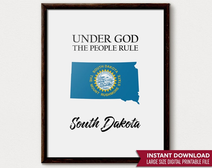 South Dakota Art, South Dakota Print, South Dakota Map, South Dakota State, South Dakota Gift, South Dakota Decor,  Dakota Printable, Flag