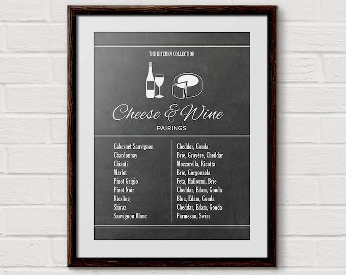 Wine Poster, Cheese Poster, Bar Cart Art, Wine Charts, Wine Chart Print, Chalkboard Print, Kitchen Chart, Kitchen Decor, Wine Gift