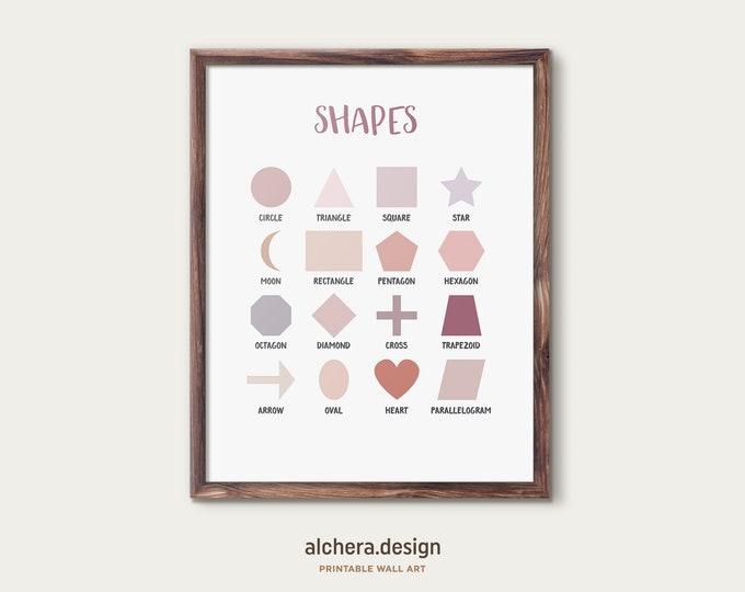 Geometric Shapes Poster,  Minimal Shapes Print, Educational Print, Homeschool educational poster, Classroom Art, Neutral Colors