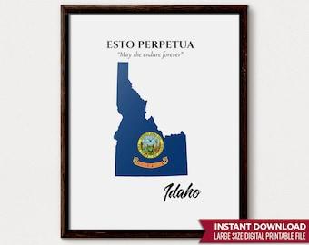 Idaho Print, Idaho Art, Idaho Map, Idaho Gift, Idaho Wall Art, Idaho Art Print, Idaho Decor, Idaho Poster, Idaho State Map, Idaho State