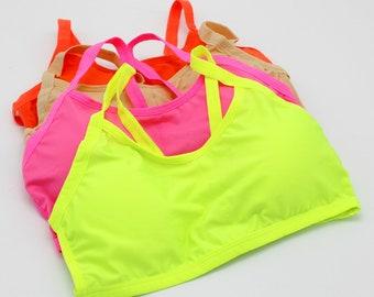 de71c2dace614 Fluo yoga Bralette Lace bralette fluo pink bralette femme orange yoga bra  yoga top gym top
