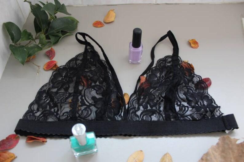 strap bralette Black lace bralette laces bralette lingerie bralette femme